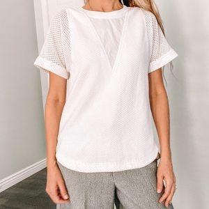 Rebecca Taylor White Mesh Blouse Shirt 8